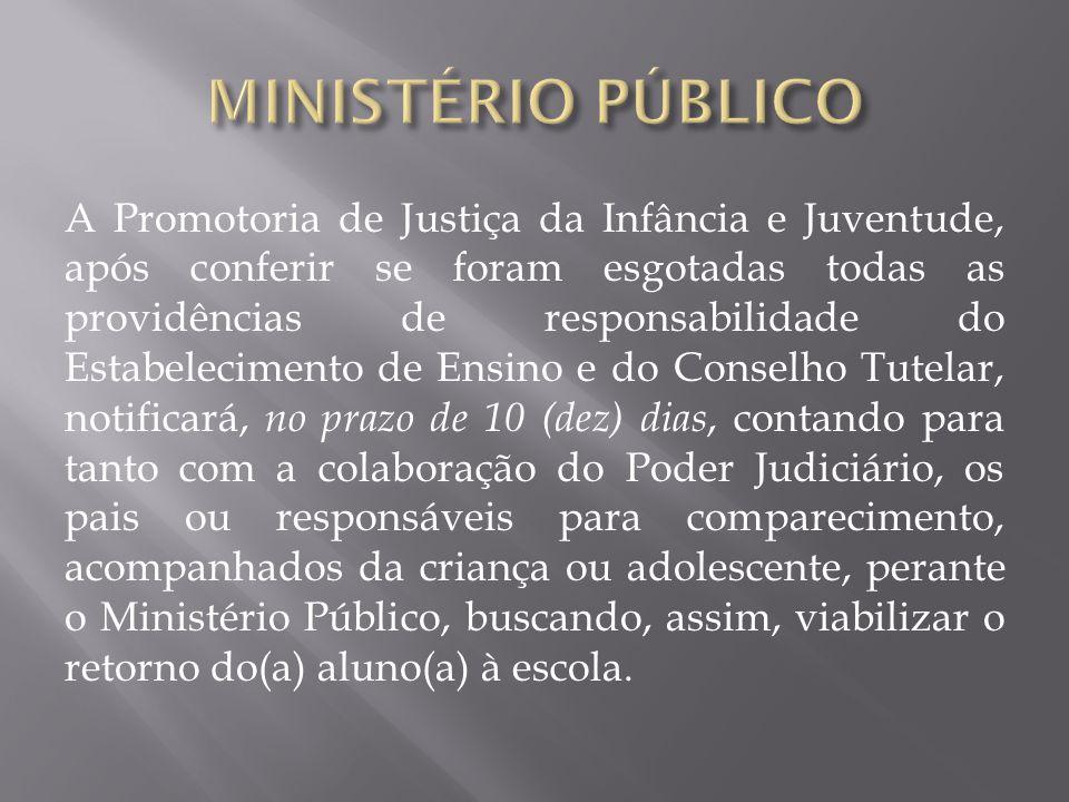 A Promotoria de Justiça da Infância e Juventude, após conferir se foram esgotadas todas as providências de responsabilidade do Estabelecimento de Ensi