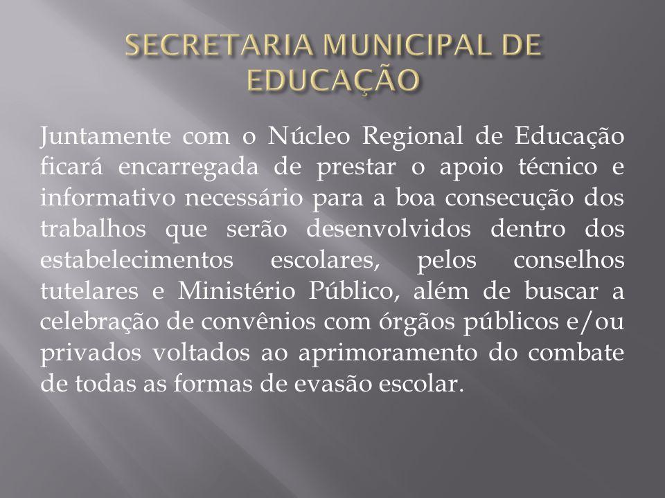 Juntamente com o Núcleo Regional de Educação ficará encarregada de prestar o apoio técnico e informativo necessário para a boa consecução dos trabalho