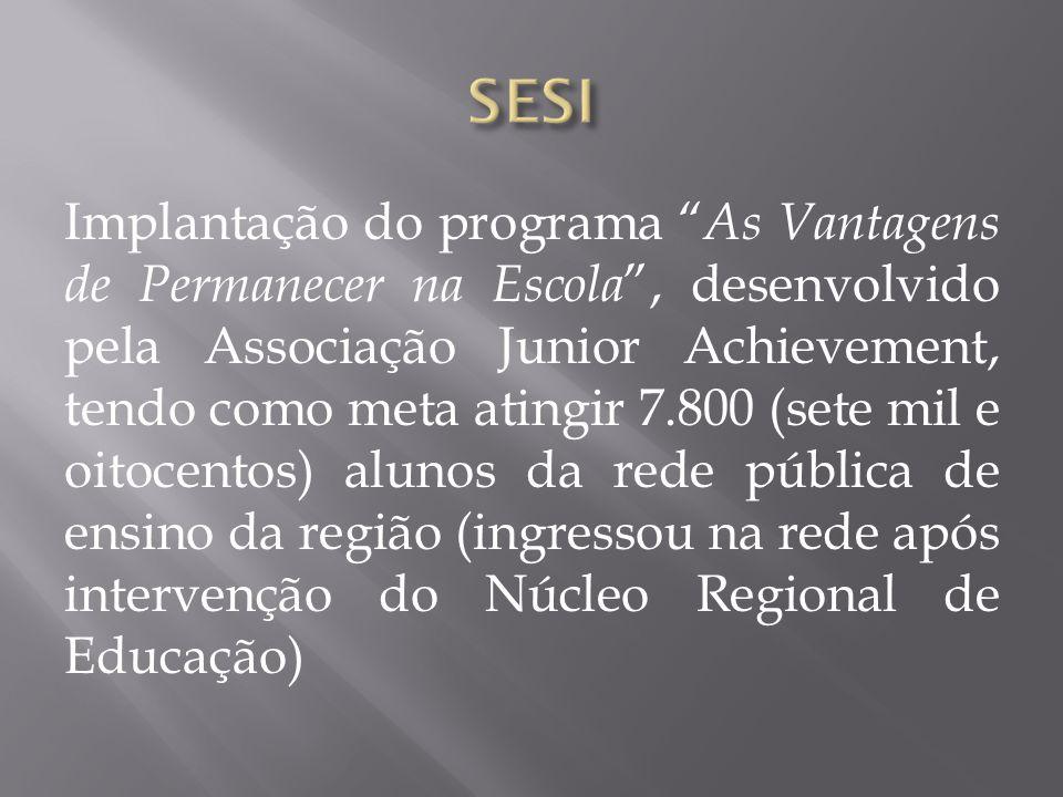 Implantação do programa As Vantagens de Permanecer na Escola, desenvolvido pela Associação Junior Achievement, tendo como meta atingir 7.800 (sete mil