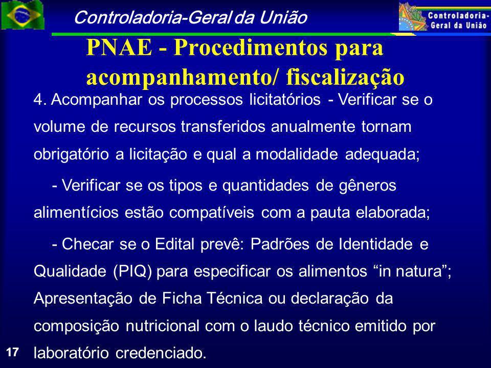 Controladoria-Geral da União 17 PNAE - Procedimentos para acompanhamento/ fiscalização 4.