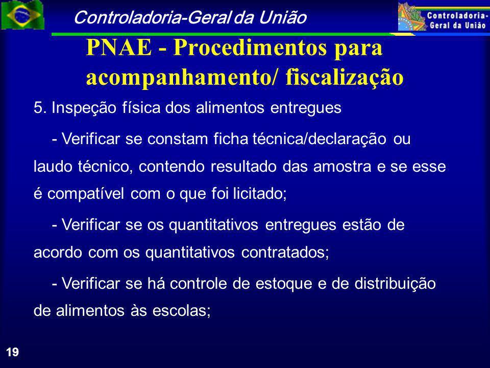 Controladoria-Geral da União 19 PNAE - Procedimentos para acompanhamento/ fiscalização 5.