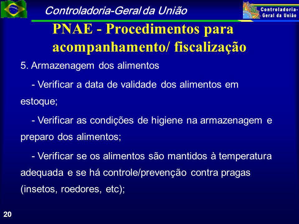 Controladoria-Geral da União 20 PNAE - Procedimentos para acompanhamento/ fiscalização 5.