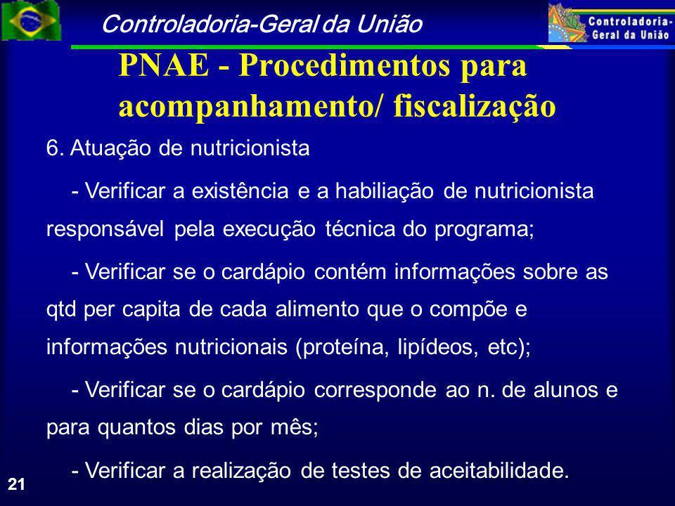 Controladoria-Geral da União 21 PNAE - Procedimentos para acompanhamento/ fiscalização 6.