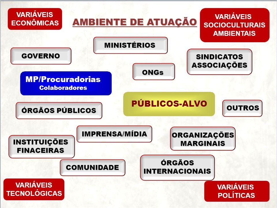 AMBIENTE DE ATUAÇÃO GOVERNO MINISTÉRIOS SINDICATOSASSOCIAÇÕES ONGs OUTROS VARIÁVEIS ECONÔMICAS VARIÁVEIS SOCIOCULTURAIS AMBIENTAIS VARIÁVEIS TECNOLÓGI