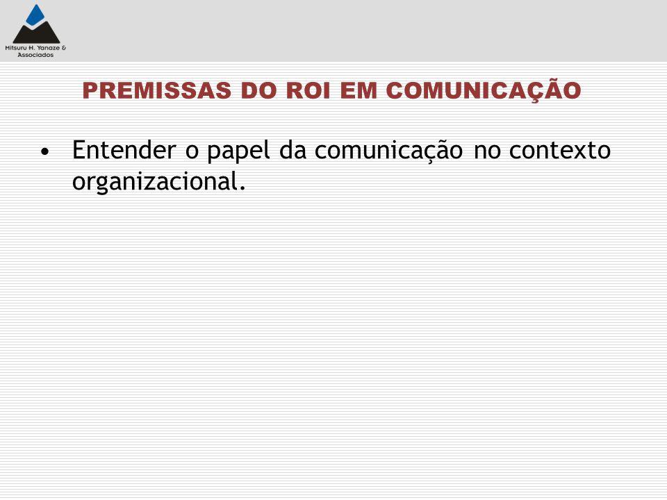 PREMISSAS DO ROI EM COMUNICAÇÃO Entender o papel da comunicação no contexto organizacional.