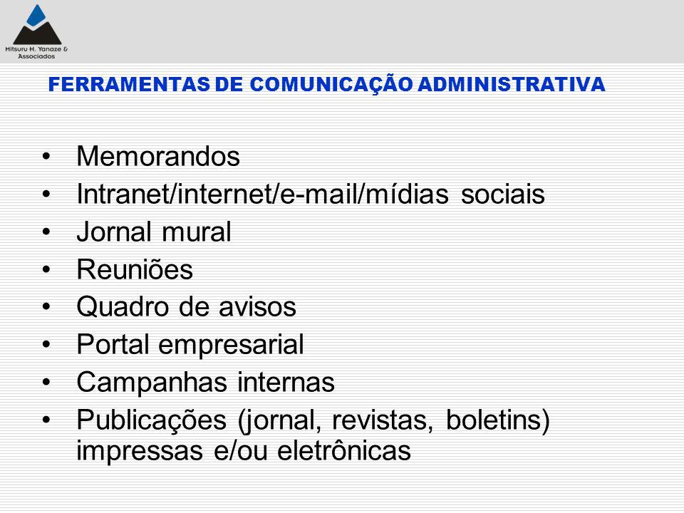 FERRAMENTAS DE COMUNICAÇÃO ADMINISTRATIVA Memorandos Intranet/internet/e-mail/mídias sociais Jornal mural Reuniões Quadro de avisos Portal empresarial