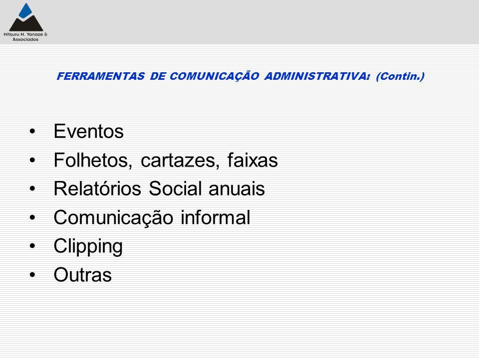 FERRAMENTAS DE COMUNICAÇÃO ADMINISTRATIVA: (Contin.) Eventos Folhetos, cartazes, faixas Relatórios Social anuais Comunicação informal Clipping Outras