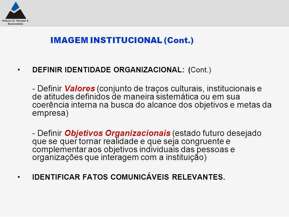 IMAGEM INSTITUCIONAL (Cont.) DEFINIR IDENTIDADE ORGANIZACIONAL: (Cont.) - Definir Valores (conjunto de traços culturais, institucionais e de atitudes