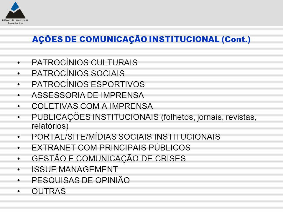 AÇÕES DE COMUNICAÇÃO INSTITUCIONAL (Cont.) PATROCÍNIOS CULTURAIS PATROCÍNIOS SOCIAIS PATROCÍNIOS ESPORTIVOS ASSESSORIA DE IMPRENSA COLETIVAS COM A IMP