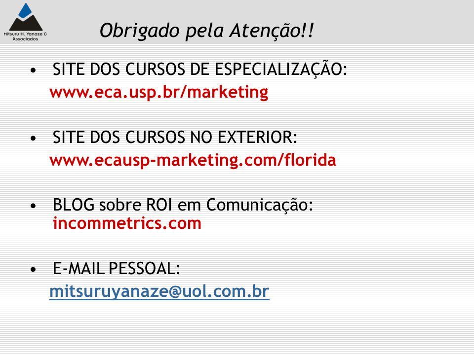 Obrigado pela Atenção!! SITE DOS CURSOS DE ESPECIALIZAÇÃO: www.eca.usp.br/marketing SITE DOS CURSOS NO EXTERIOR: www.ecausp-marketing.com/florida BLOG