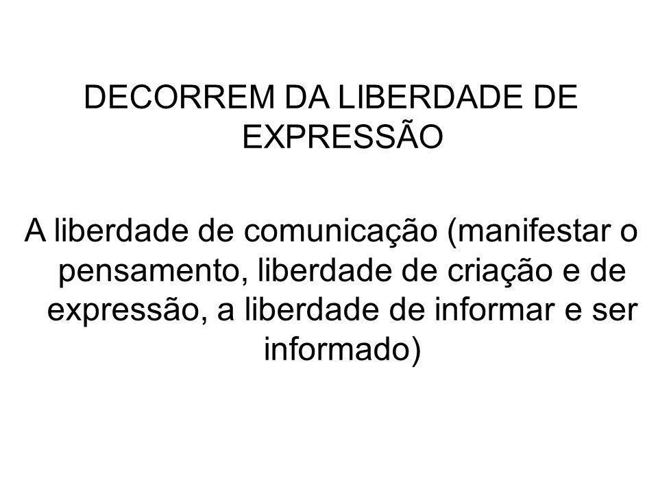 DECORREM DA LIBERDADE DE EXPRESSÃO A liberdade de comunicação (manifestar o pensamento, liberdade de criação e de expressão, a liberdade de informar e