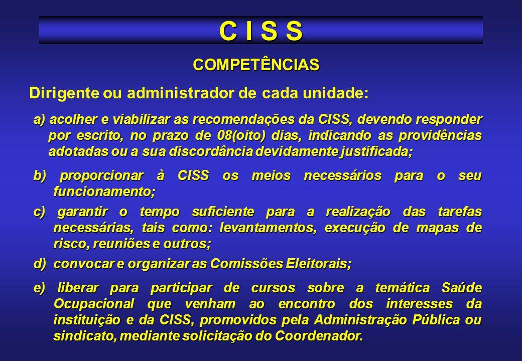 COMPETÊNCIAS Secretário de Estado ou ocupantes de cargos que a este se assemelhem: Instituir ou dar condições para que sejam constituídas as CISS em t