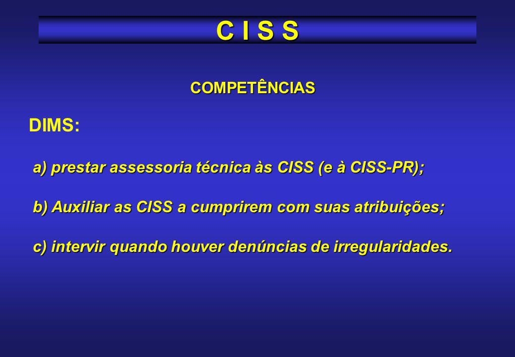COMPETÊNCIAS Dirigente ou administrador de cada unidade: a) acolher e viabilizar as recomendações da CISS, devendo responder por escrito, no prazo de