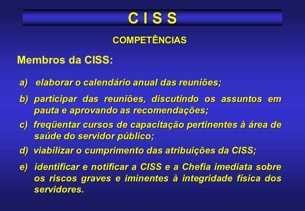 COMPETÊNCIAS Compete ao Secretário da CISS: a) redigir as atas das reuniões, as quais deverão ser assinadas pelos participantes; b) organizar os arqui