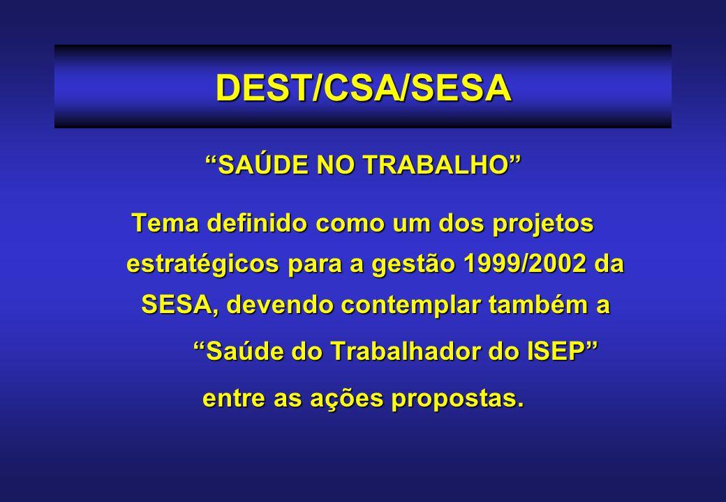 DEST/CSA/SESA POLÍTICA DE SAÚDE DOTRABALHADORDOISEP/SESA