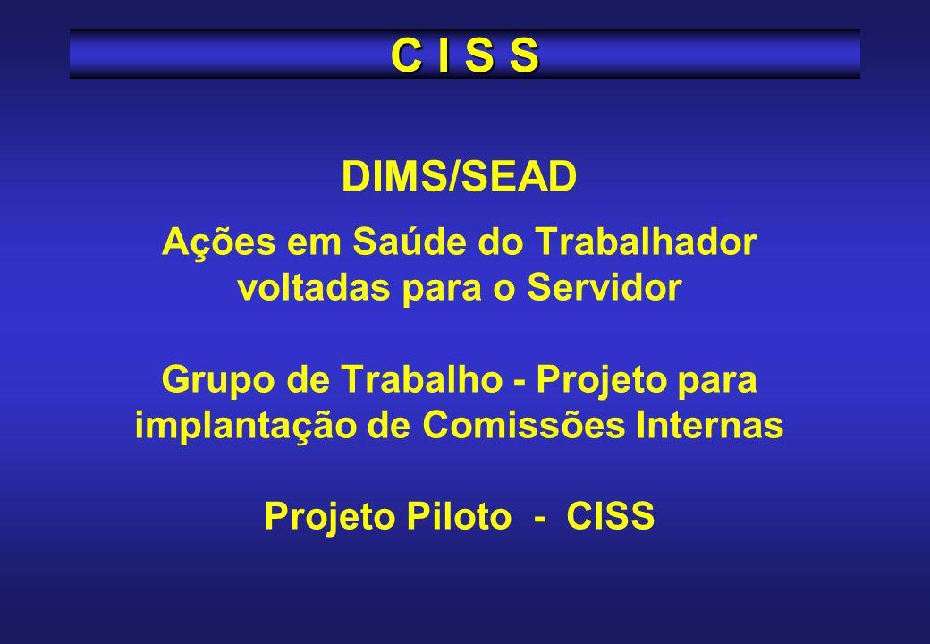 DIMS/SEAD Ações em Saúde do Trabalhador voltadas para o Servidor Grupo de Trabalho - Projeto para implantação de Comissões Internas Projeto Piloto - CISS C I S S