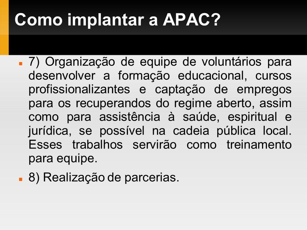 Como implantar a APAC? 7) Organização de equipe de voluntários para desenvolver a formação educacional, cursos profissionalizantes e captação de empre