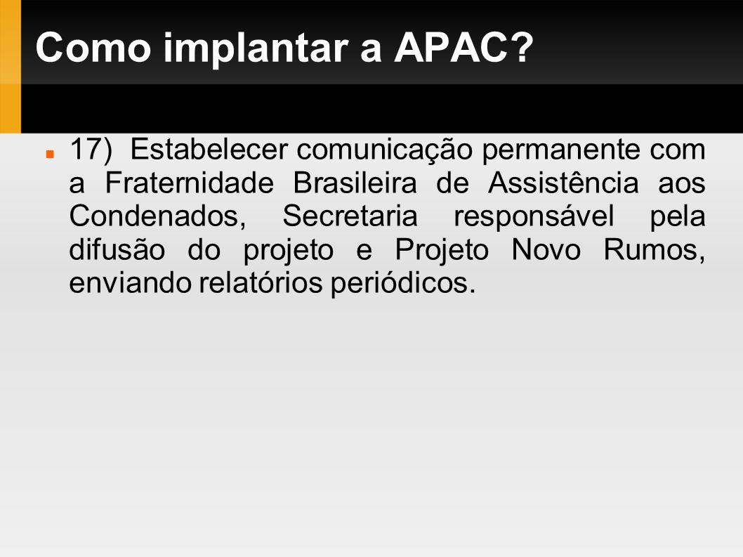 Como implantar a APAC? 17) Estabelecer comunicação permanente com a Fraternidade Brasileira de Assistência aos Condenados, Secretaria responsável pela