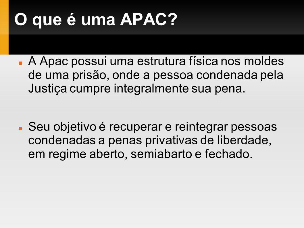 O que é uma APAC? A Apac possui uma estrutura física nos moldes de uma prisão, onde a pessoa condenada pela Justiça cumpre integralmente sua pena. Seu