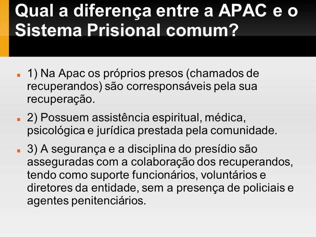 Qual a diferença entre a APAC e o Sistema Prisional comum? 1) Na Apac os próprios presos (chamados de recuperandos) são corresponsáveis pela sua recup