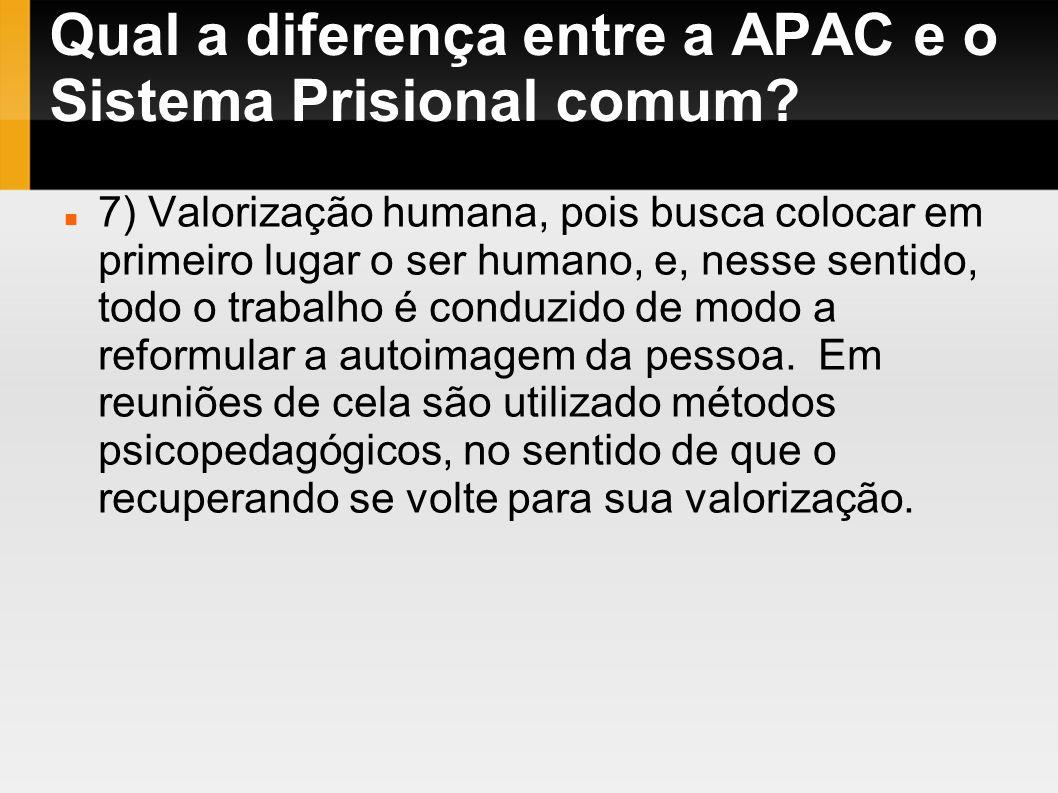 Qual a diferença entre a APAC e o Sistema Prisional comum? 7) Valorização humana, pois busca colocar em primeiro lugar o ser humano, e, nesse sentido,