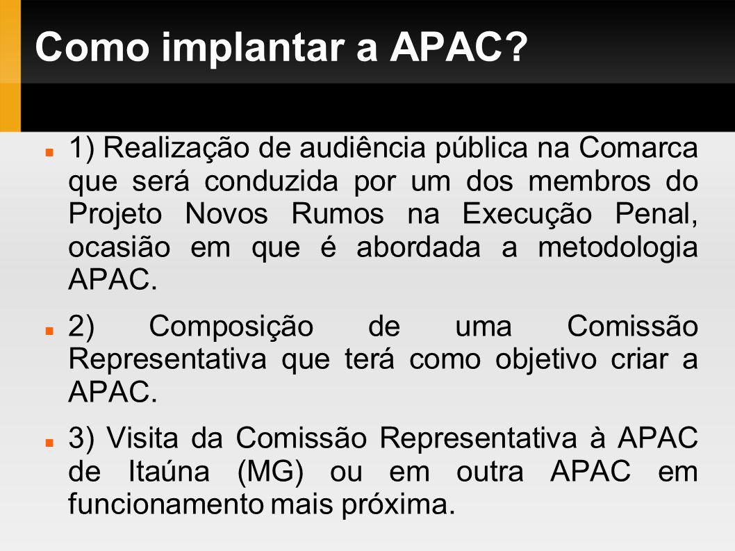 Como implantar a APAC? 1) Realização de audiência pública na Comarca que será conduzida por um dos membros do Projeto Novos Rumos na Execução Penal, o