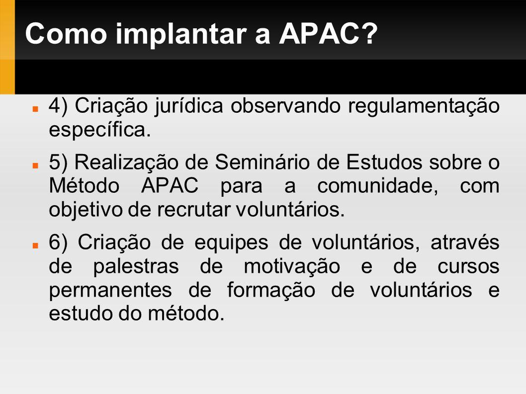 Como implantar a APAC? 4) Criação jurídica observando regulamentação específica. 5) Realização de Seminário de Estudos sobre o Método APAC para a comu