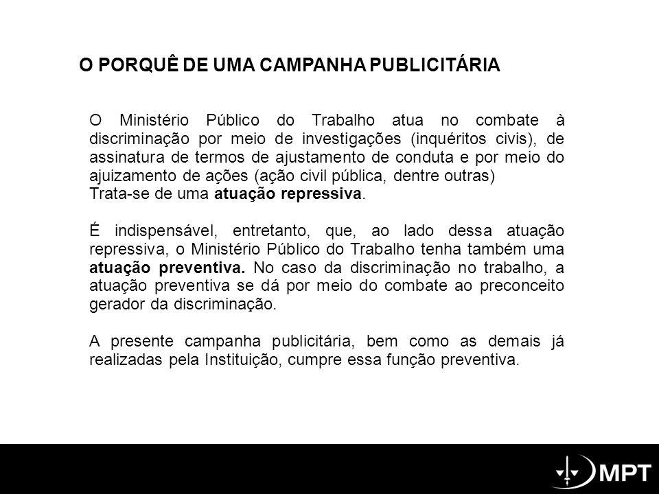 O PORQUÊ DE UMA CAMPANHA PUBLICITÁRIA O Ministério Público do Trabalho atua no combate à discriminação por meio de investigações (inquéritos civis), de assinatura de termos de ajustamento de conduta e por meio do ajuizamento de ações (ação civil pública, dentre outras) Trata-se de uma atuação repressiva.