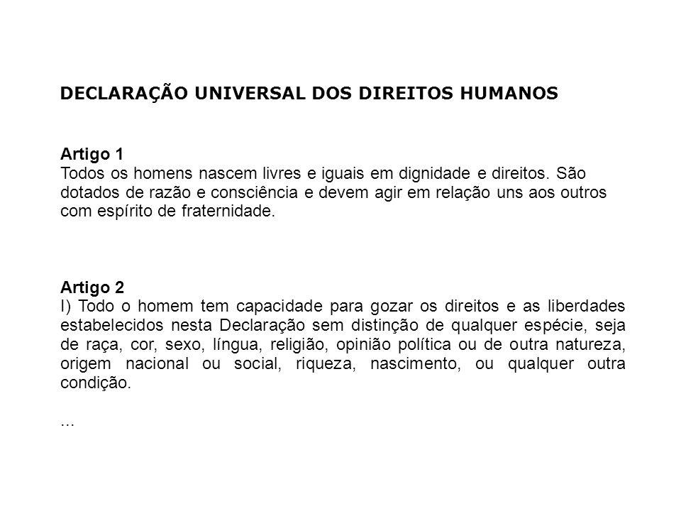 DECLARAÇÃO UNIVERSAL DOS DIREITOS HUMANOS Artigo 1 Todos os homens nascem livres e iguais em dignidade e direitos. São dotados de razão e consciência