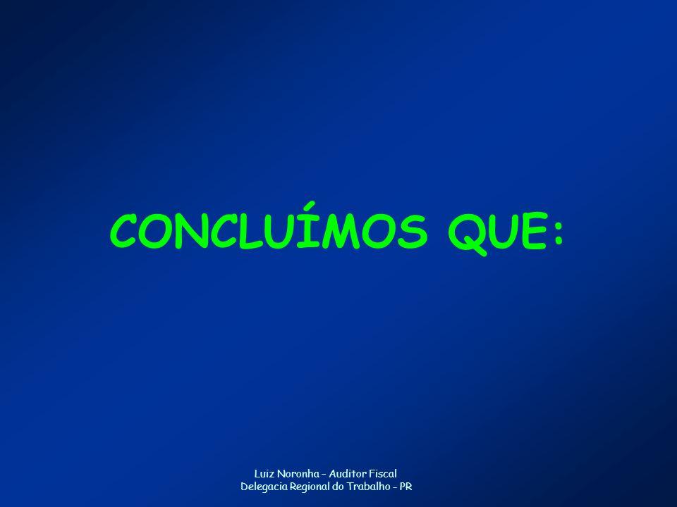 CONCLUÍMOS QUE: Luiz Noronha – Auditor Fiscal Delegacia Regional do Trabalho - PR