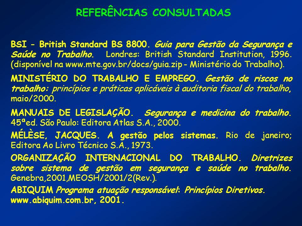 REFERÊNCIAS CONSULTADAS BSI - British Standard BS 8800.