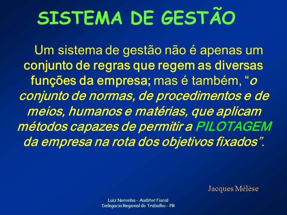 Luiz Noronha – Auditor Fiscal Delegacia Regional do Trabalho - PR SISTEMA DE GESTÃO Um sistema de gestão não é apenas um conjunto de regras que regem