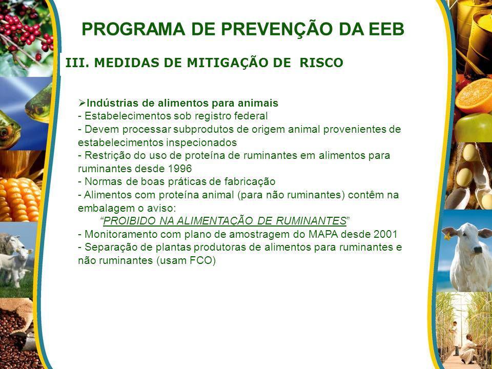 III. MEDIDAS DE MITIGAÇÃO DE RISCO PROGRAMA DE PREVENÇÃO DA EEB Indústrias de alimentos para animais - Estabelecimentos sob registro federal - Devem p