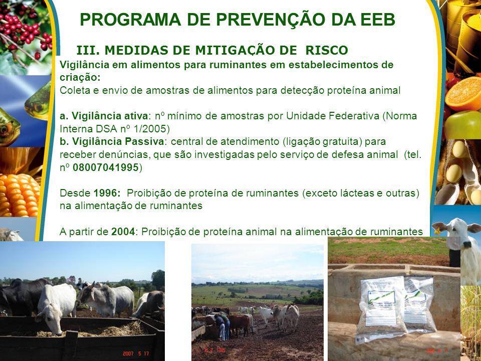 PROGRAMA DE PREVENÇÃO DA EEB III. MEDIDAS DE MITIGAÇÃO DE RISCO Vigilância em alimentos para ruminantes em estabelecimentos de criação: Coleta e envio