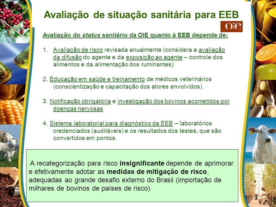 Avaliação de situação sanitária para EEB Avaliação do status sanitário da OIE quanto à EEB depende de: 1.Avaliação de risco revisada anualmente (consi