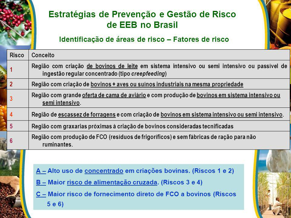 Estratégias de Prevenção e Gestão de Risco de EEB no Brasil Identificação de áreas de risco – Fatores de risco RiscoConceito 1 Região com criação de b