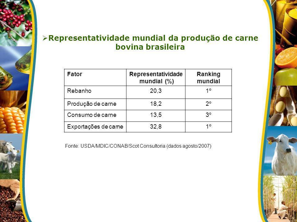 Fonte: USDA/MDIC/CONAB/Scot Consultoria (dados agosto/2007) FatorRepresentatividade mundial (%) Ranking mundial Rebanho20,31º Produção de carne18,22º