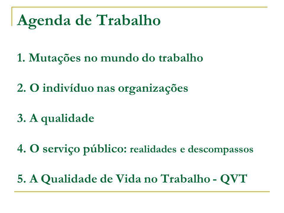 Agenda de Trabalho 1. Mutações no mundo do trabalho 2. O indivíduo nas organizações 3. A qualidade 4. O serviço público: realidades e descompassos 5.