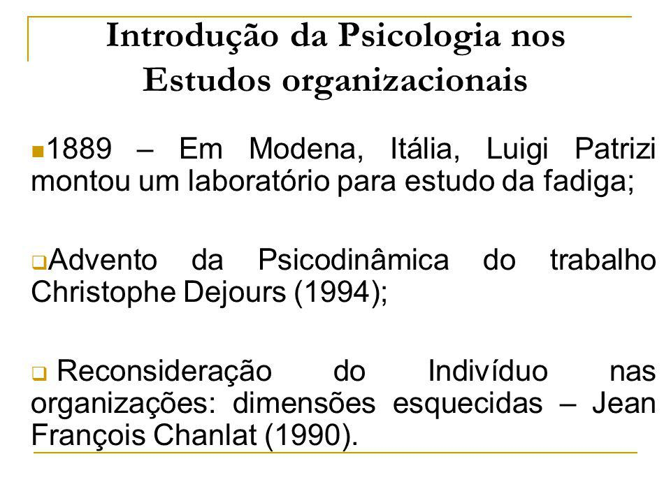 Introdução da Psicologia nos Estudos organizacionais 1889 – Em Modena, Itália, Luigi Patrizi montou um laboratório para estudo da fadiga; Advento da P