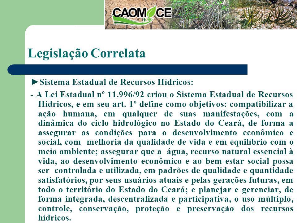 Legislação Correlata Sistema Estadual de Recursos Hídricos: - A Lei Estadual nº 11.996/92 criou o Sistema Estadual de Recursos Hídricos, e em seu art.