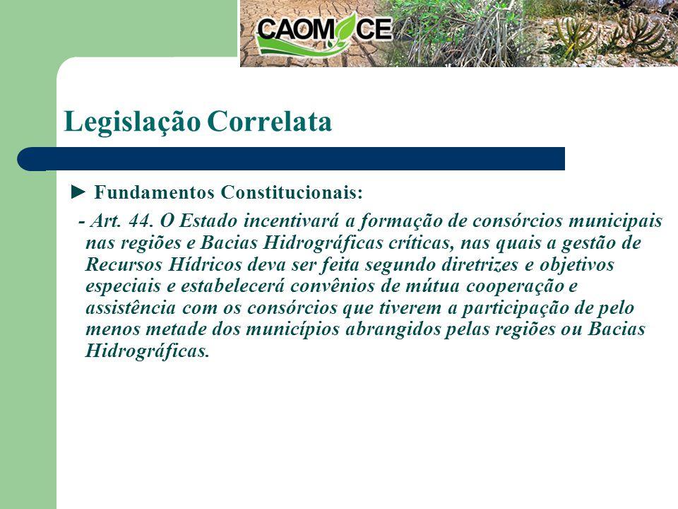 Legislação Correlata Fundamentos Constitucionais: - Art.