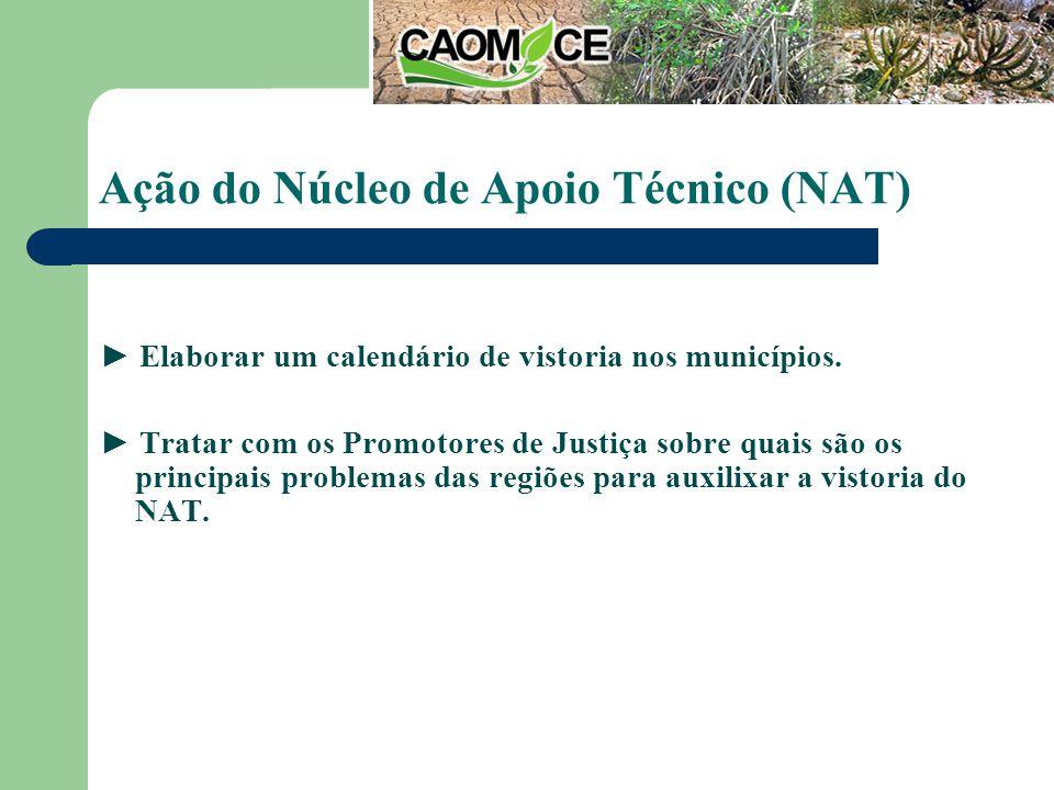 Ação do Núcleo de Apoio Técnico (NAT) Elaborar um calendário de vistoria nos municípios.