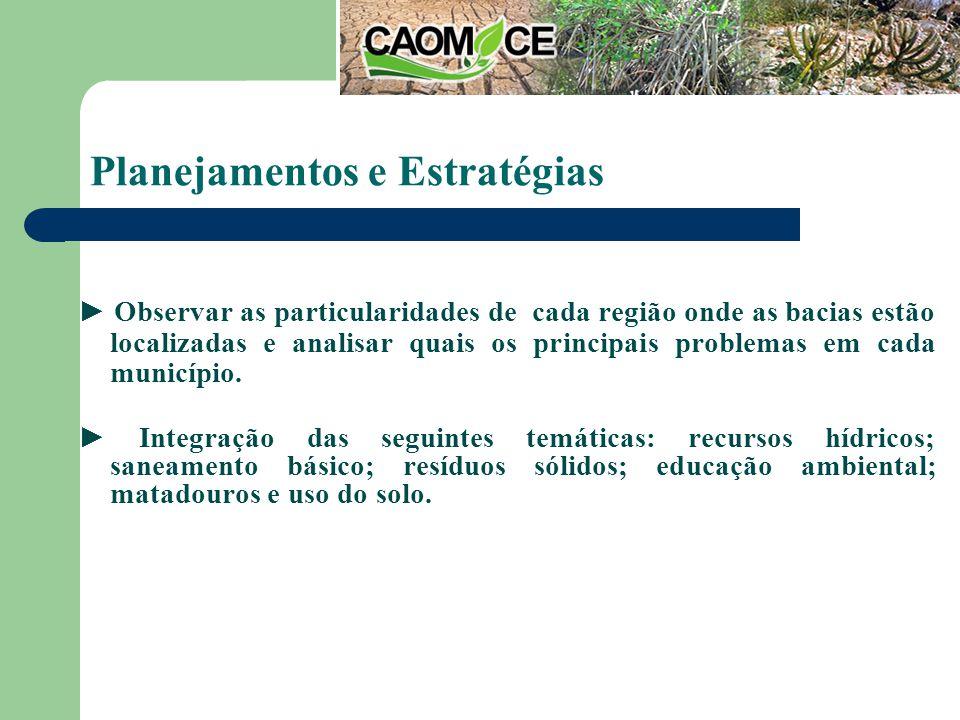 Planejamentos e Estratégias Observar as particularidades de cada região onde as bacias estão localizadas e analisar quais os principais problemas em cada município.