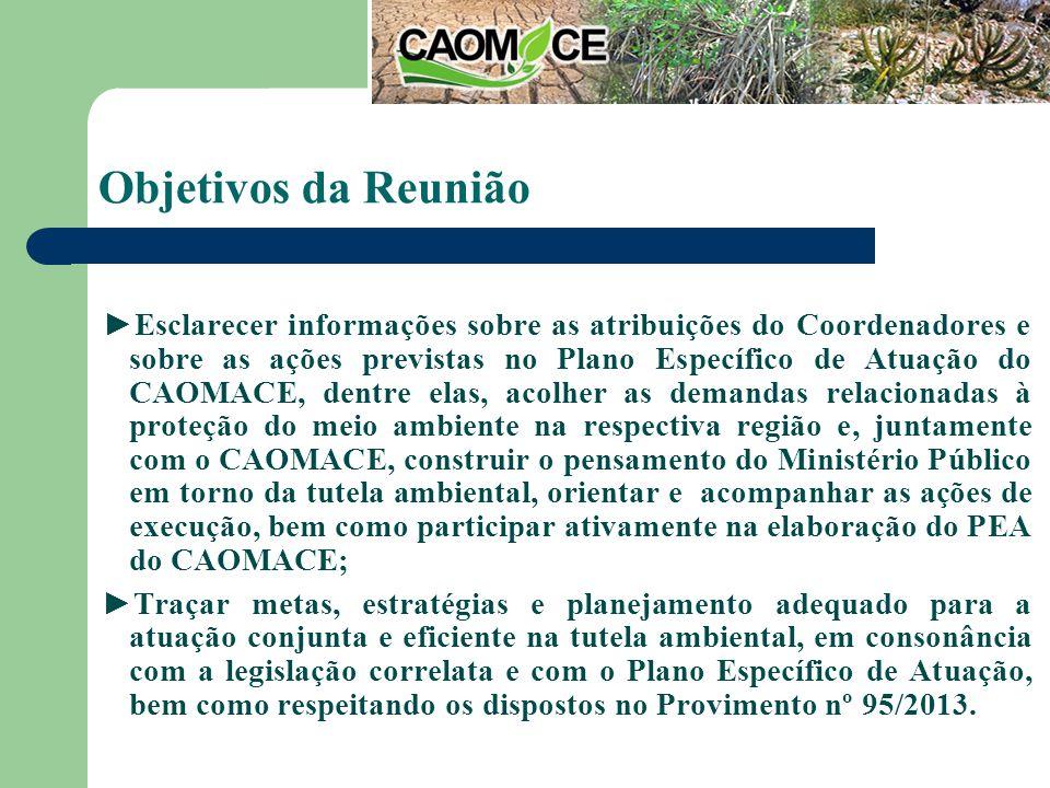 Objetivos da Reunião Esclarecer informações sobre as atribuições do Coordenadores e sobre as ações previstas no Plano Específico de Atuação do CAOMACE, dentre elas, acolher as demandas relacionadas à proteção do meio ambiente na respectiva região e, juntamente com o CAOMACE, construir o pensamento do Ministério Público em torno da tutela ambiental, orientar e acompanhar as ações de execução, bem como participar ativamente na elaboração do PEA do CAOMACE; Traçar metas, estratégias e planejamento adequado para a atuação conjunta e eficiente na tutela ambiental, em consonância com a legislação correlata e com o Plano Específico de Atuação, bem como respeitando os dispostos no Provimento nº 95/2013.