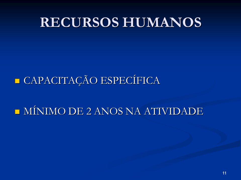 RECURSOS HUMANOS CAPACITAÇÃO ESPECÍFICA CAPACITAÇÃO ESPECÍFICA MÍNIMO DE 2 ANOS NA ATIVIDADE MÍNIMO DE 2 ANOS NA ATIVIDADE 11
