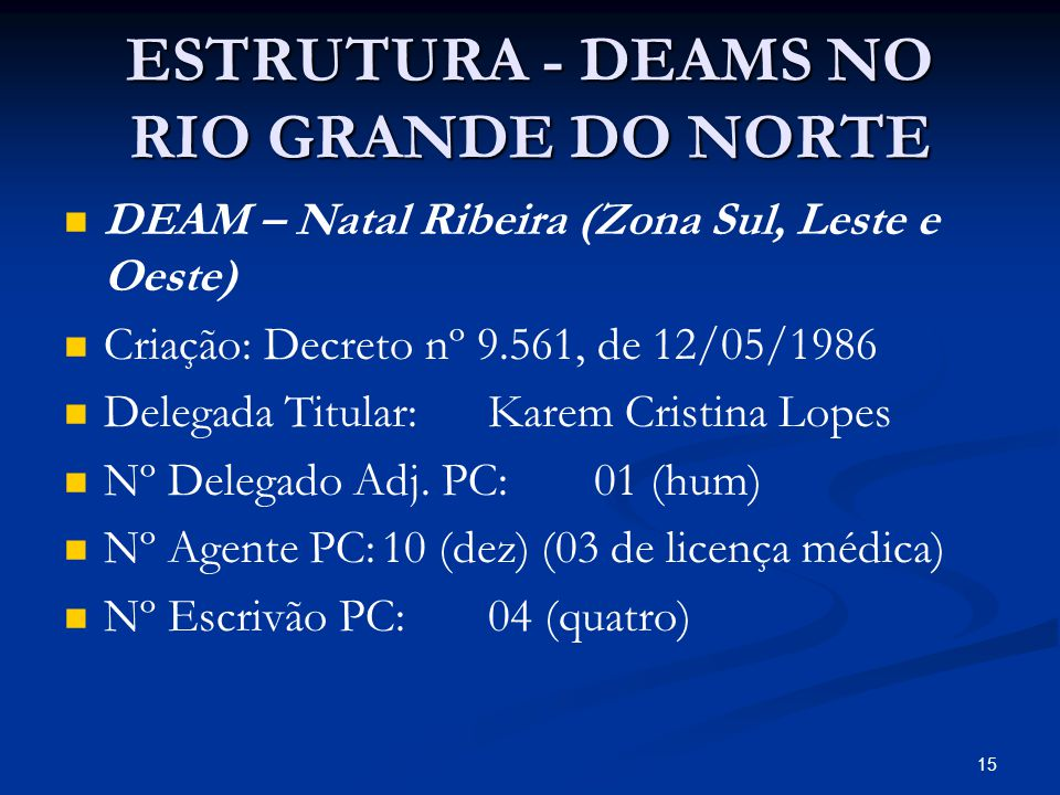 ESTRUTURA - DEAMS NO RIO GRANDE DO NORTE DEAM – Natal Ribeira (Zona Sul, Leste e Oeste) Criação: Decreto nº 9.561, de 12/05/1986 Delegada Titular:Kare