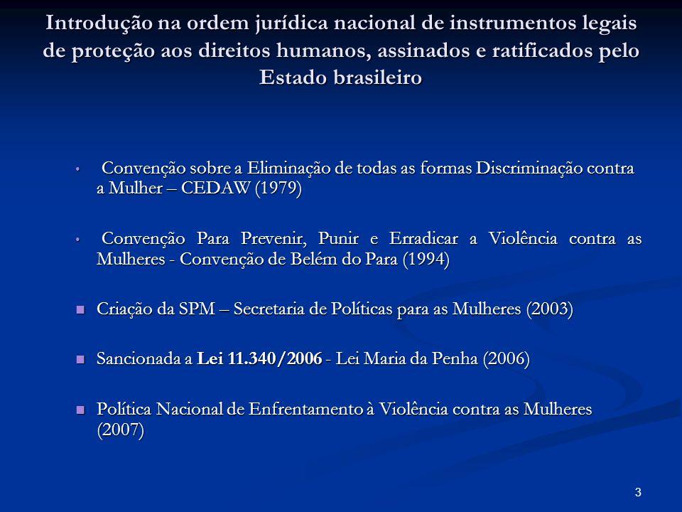 Introdução na ordem jurídica nacional de instrumentos legais de proteção aos direitos humanos, assinados e ratificados pelo Estado brasileiro Convençã