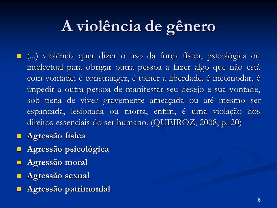 A violência de gênero (...) violência quer dizer o uso da força física, psicológica ou intelectual para obrigar outra pessoa a fazer algo que não está