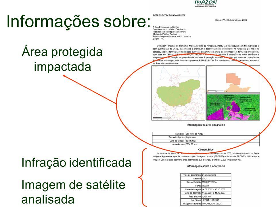 Informações sobre: Área protegida impactada Infração identificada Imagem de satélite analisada