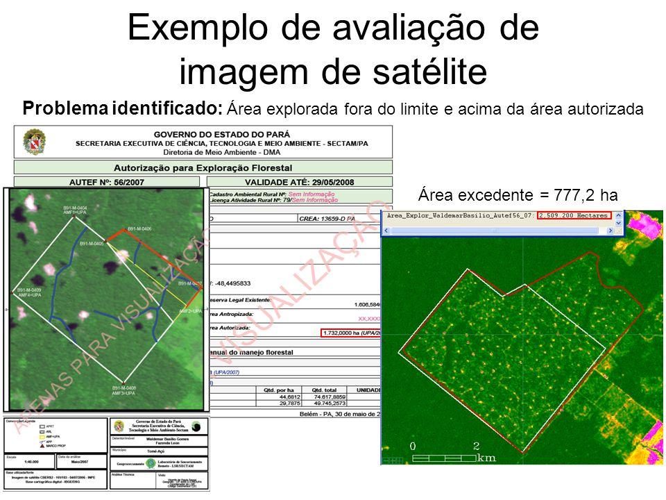 Exemplo de avaliação de imagem de satélite Problema identificado: Área explorada fora do limite e acima da área autorizada Área excedente = 777,2 ha